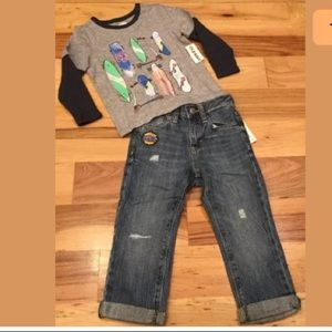 Old Navy Boys Skateboard Top & Relaxed Jeans